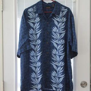 OP Ocean Pacific Men's Hawaiian Blue Shirt LT/GL
